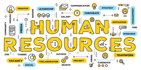 Vector creative illustration of human resources yellow word lettering typography with line icons and tag cloud on white background. Company human resources concept. Thin line art style design of hr business banner
