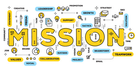 Vector creative illustration of mission yellow word lettering typography with line icons and tag cloud on white background. Company mission concept. Thin line art style design of business goals banner