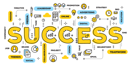 Vector creative illustration of success yellow word lettering typography with line icons and tag cloud on white background. Successful development concept. Thin line art style design for business web banner Illustration