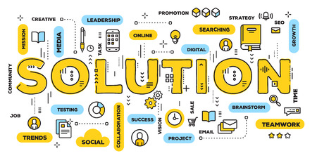 Vector creative illustration of solution yellow word lettering typography with line icons and tag cloud on white background. Decision making concept. Thin line art style design for business web banner