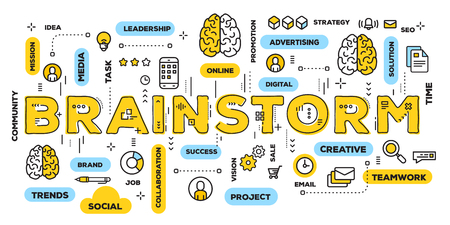 Vector creative illustration of brainstorm yellow word lettering typography with line icons and tag cloud on white background. Brainstorming concept. Thin line art style design for business web banner 스톡 콘텐츠 - 99367204