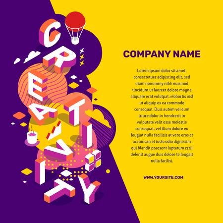 Vektor kreative Illustration von 3d Kreativität Wortbeschriftung Typografie mit Dekorelement, Text auf Farbhintergrund. Kreatives Ideenkonzept. Isometrisches Design für geschäftliche kreative Web, Website, Banner