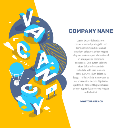Hiring people concept. Vector creative abstract illustration of 3d vacancy word lettering typography with decor element, text on color background. Isometric search of employees design for business web, site, banner