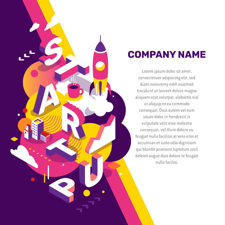 Startup technology concept. Vector creative abstract illustration of 3d startup word lettering typography with spaceship, decor element, text on color background. Isometric design for business startup