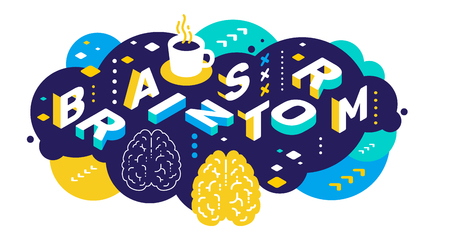 Vector creative abstract horizontal illustration of 3d brainstorm word lettering typography on color background. Brainstorming concept with brain, decor element. Isometric design for business promotion web, site, banner