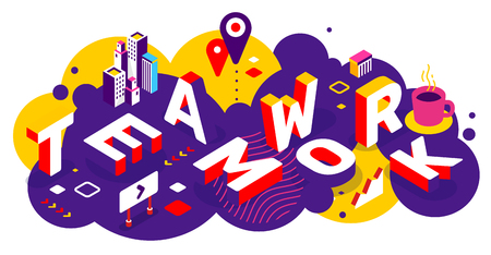 Vector creatieve abstracte horizontale illustratie van 3d teamwerk woord belettering typografie op felle kleur achtergrond. Werk mensen samen concept met decorelement. Isometrisch ontwerp voor zakelijke teamwerkweb, site, banner Vector Illustratie