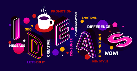 Creative idea concept with tag word, coffee cup on night background. Vector creative abstract horizontal illustration of 3d ideas word lettering typography. Isometric template design for business idea web, site, banner