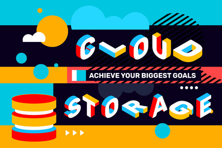 Cloud storage concept on bright color background with abstract element. Vector creative horizontal illustration of 3d word lettering typography. Isometric template design for business banner Stok Fotoğraf - 101679309