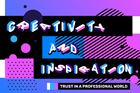 Creativity and inspiration concept on blue color background with abstract element. Vector creative horizontal illustration of 3d word lettering typography. Isometric template design for business banner