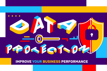 Data protection concept on bright colorful background with shield. Vector creative horizontal illustration of 3d word lettering typography with futuristic business title. Isometric template design for banner