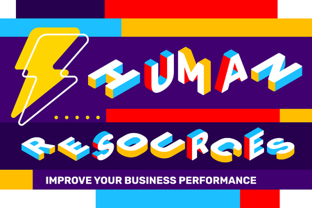 Human resources concept on bright color background with lightning icon, geometric element. Vector creative horizontal illustration of 3d word lettering typography. Isometric template design for business web banner