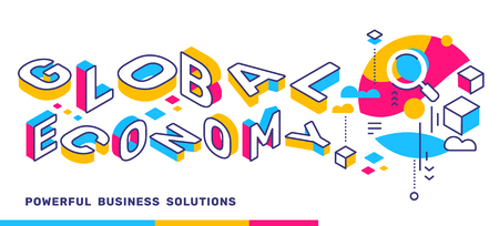 Vector creative horizontal illustration of 3d word lettering typography. Global economy color concept on white  background with icon. Isometric template design for business web banner