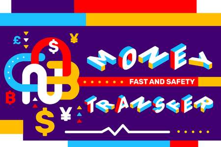 Money transfer concept on color background with icon, geometric element. Vector creative horizontal illustration of 3d word lettering typography. Isometric template design for business web banner Ilustração