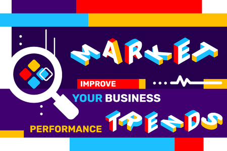 Market trends concept on color background with magnifier icon, geometric element. Vector creative horizontal illustration of 3d word lettering typography. Isometric template design for business web banner