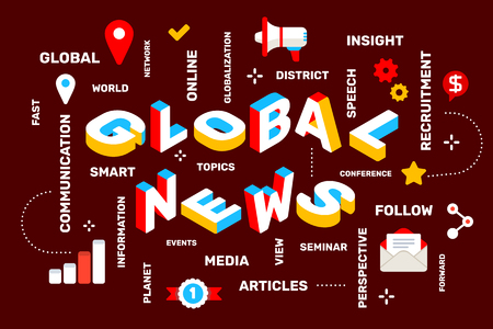 Global news concept on dark color background with icon, keyword. Vector creative horizontal illustration of 3d word lettering typography. Isometric template design for business web banner