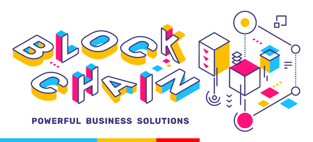 Vector creative horizontal illustration of 3d word lettering typography with business title. Block chain colorful concept on white  background. Isometric template design for banner