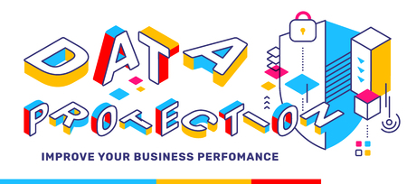 Vector creative horizontal illustration of 3d word lettering typography with business title. Data protection color concept on white background with shield. Isometric template design for banner