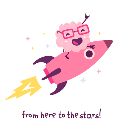 Vector illustration of pink color smile brain with glasses flying on a rocket to star on white background. Doodle style. Business startup cartoon brain concept. Flat style design of character brain for education theme Illustration