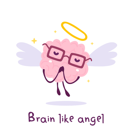 Vector illustration of flying pink color smile brain with glasses, wing, nimbus on white background. Angel cartoon brain concept. Doodle style. Flat style design of character brain for education theme