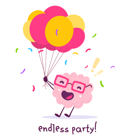 Vector illustration of pink color smile brain with glasses holding bunch of balloons on white background. Celebration party cartoon brain concept. Doodle style. Flat style design of character brain for education theme