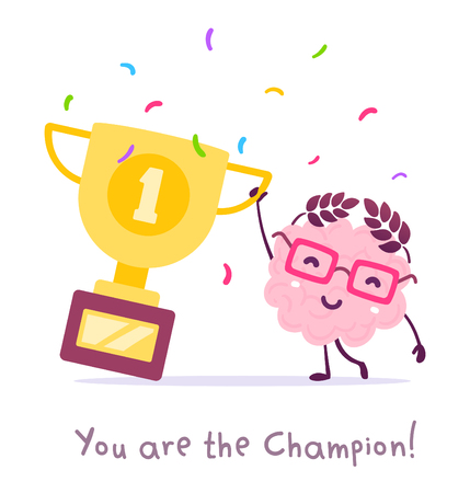 Vector illustration of pink color smile brain with glasses holding golden winner cup on white background. Champion cartoon brain concept. Doodle style. Flat style design of character brain for education theme Illustration