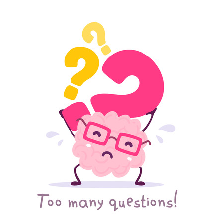 Vector illustration of pink color smile brain with glasses holding question mark on white background. Very strong cartoon brain concept. Doodle style. Flat style design of character brain for education theme