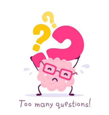 Ilustración de vector de cerebro de sonrisa de color rosa con gafas con signo de interrogación sobre fondo blanco. Concepto de cerebro de dibujos animados muy fuerte. Estilo Doodle. Diseño de estilo plano del cerebro del personaje para el tema educativo Ilustración de vector