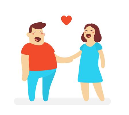 illustrazione di uomo felice e donna che tengono la mano a vicenda su sfondo bianco. Concetto di personaggio dei cartoni animati di amanti felici. Vettoriali