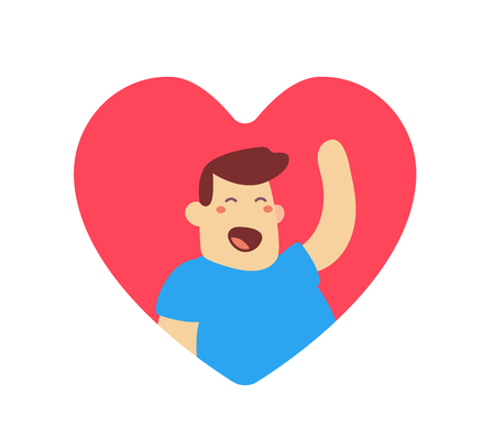 illustration of happy man in red heart shape with raised arm on white background. Greeting cartoon character concept.