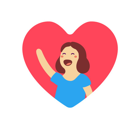 Greeting cartoon character concept. illustration of happy woman in red heart shape with raised arm on white background.