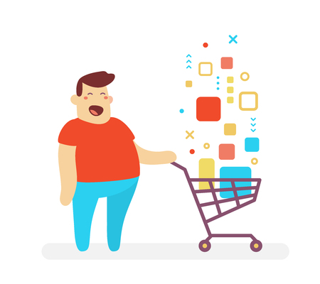 illustration of happy man and shopping trolley with digital product on white background. Shopping cartoon character concept. Vektorové ilustrace