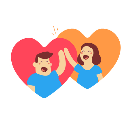 illustration of happy man and woman in heart shape with raised arm high five on white background. Greeting cartoon character concept. Vectores