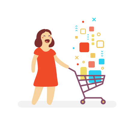 Shopping cartoon character concept.  illustration of happy woman and shopping trolley with digital product on white background. Illustration