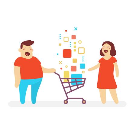 Illustration des glücklichen Mannes und der Frau mit dem Einkaufswagen mit digitalem Produkt auf weißem Hintergrund. Shopping-Cartoon-Charakter-Konzept.