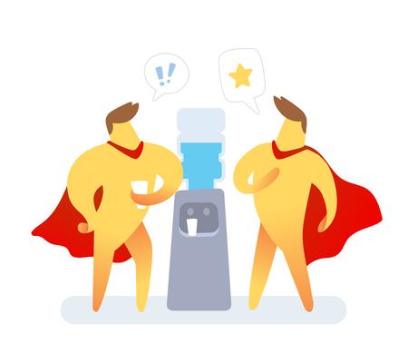 illustration de deux hommes de couleur jaune avec manteau rouge parlant près de refroidisseur d'eau sur fond blanc. Concept de communication de personnage de dessin animé de super héros. Vecteurs