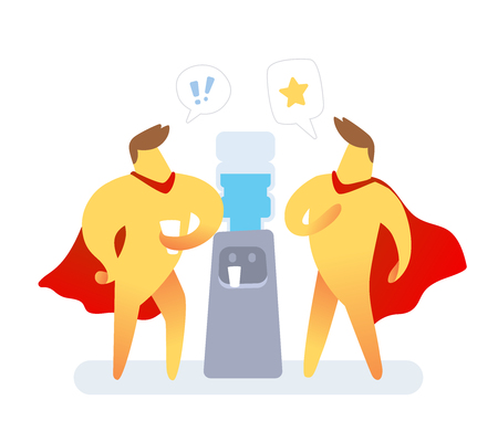 Illustration von zwei gelben Farbmännern mit rotem Umhang, der nahe Wasserkühler auf weißem Hintergrund spricht. Kommunikationskonzept des Superhelden-Zeichentrickfilmcharakters. Vektorgrafik