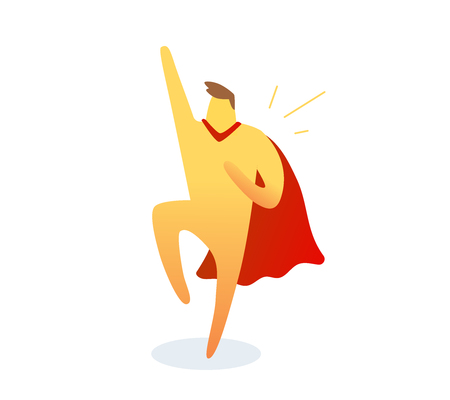 illustration of yellow color  man with red cloak raised his arm and leg up on white background. Winner cartoon character concept. Reklamní fotografie - 106151932