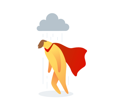 illustration of yellow color  man with red cloak under rain cloud on white background. Unhappy cartoon character concept. Çizim