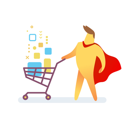 illustration of yellow color man with red cloak and shopping trolley with digital product on white background. Shopping cartoon character concept.