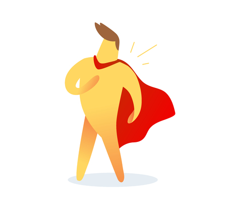 illustration of yellow color  man with red cloak on white background. Winner cartoon character concept.