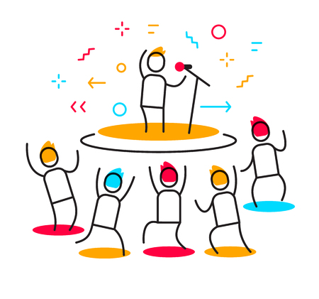 Vector business illustration of a man performs on stage surrounded by fans. Stand up party creative linear concept. Flat line art style design for web, site, banner, poster, presentation Banque d'images - 109032931