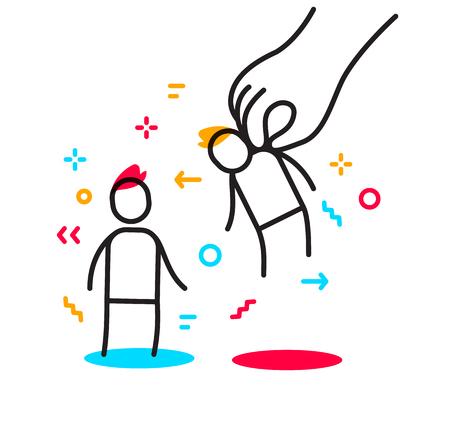 Vektorgeschäftsillustration der Arbeitgeberhand wählen einen Mann. Der Mann erhielt ein kreatives lineares Partnerkonzept. Flache Linie Kunstart Design der Personalbeziehung für Web, Website, Banner, Poster, Präsentation Vektorgrafik