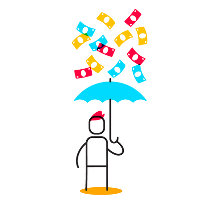 Vector business illustration of a man holding blue umbrella and standing under money rain. Financial success linear concept. Flat line art style design for web, site, banner, poster Illustration