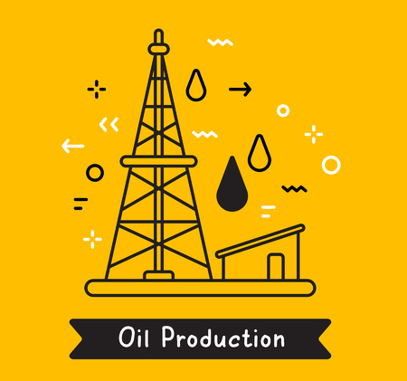 Vector business illustration of black oil derrick with fuel drop on yellow background. Oil production creative linear concept. Flat line art style design for web, site, banner, presentation