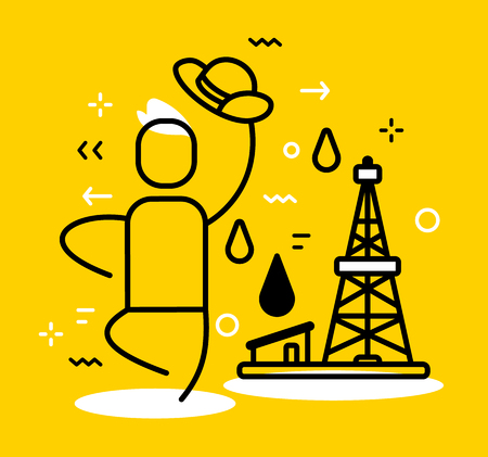Vector illustration of a happy man and black oil derrick with fuel drop on yellow background. Oil production is a profitable business creative linear concept. Flat line art style design for web, site, banner, presentation