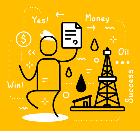 Vector business illustration of a happy man holding contract and black oil derrick with fuel drop on yellow background with tag. Oil production creative linear concept. Flat line art style design for web, site, banner, presentation