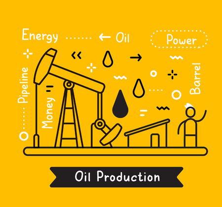 Vector business illustration of a black drilling rig for oil production and a man on yellow background with tag, fuel drop. Creative linear concept. Flat line art style design for web, site, banner, presentation