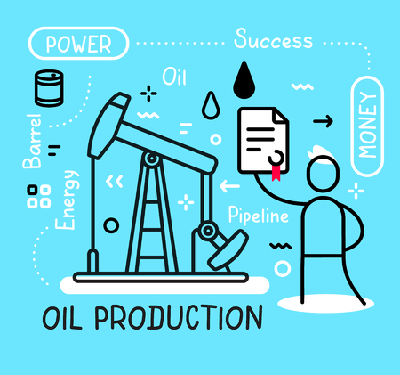 Vector business illustration of a happy man holding contract and black drilling rig for oil production on blue background with tag, fuel drop. Creative linear concept. Flat line art style design for web, site, banner, presentation