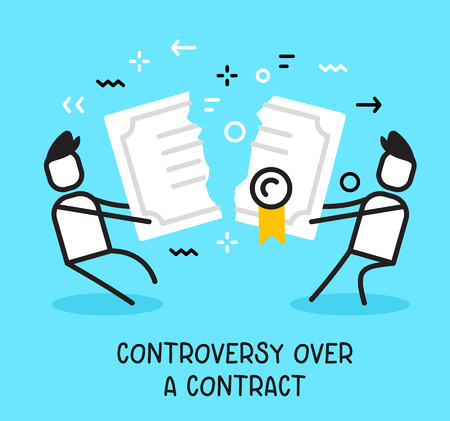 Vector business illustration of people pulling contract in different and breaking it up on blue background. Controversy over a contract creative linear concept. Flat line art style design for web, site, banner, presentation Illustration