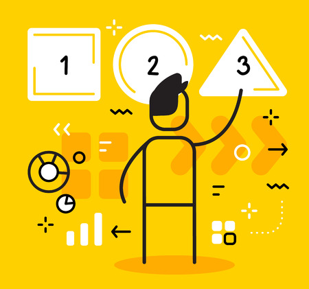 Vector business illustration of man selecting and pressing a button with a number. Make a choice creative linear concept. Flat line art style design for web, site, banner, presentation Illustration